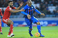 Calvin Andrew turns his defender during the EFL Sky Bet League 1 match between Rochdale and Accrington Stanley at Spotland, Rochdale, England on 24 November 2018.
