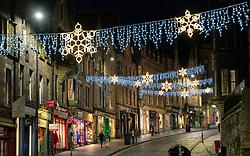 Edinburgh, Scotland, UK. 26 November 2020.Night views of Edinburgh as Christmas approaches.  View of Christmas lights on Cockburn Street in Edinburgh's Old Town.  Credit.  Iain Masterton/Alamy Live News