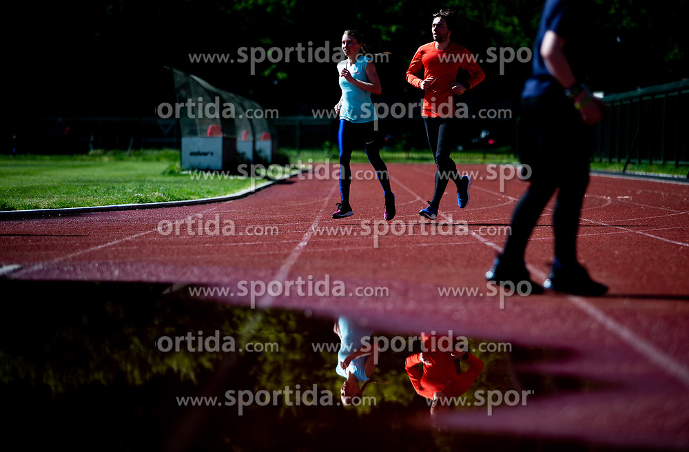 Slovenian athlete Marusa Mismas Zrimsek and her husband Matej Zrimsek during practice session after loosening coronavirus COVID-19 restriction, on May 3, 2020 in Stadion Kodeljevo, Ljubljana, Slovenia. Photo by Vid Ponikvar / Sportida