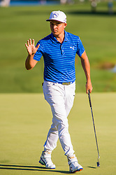 Golfer Rickie Fowler acknowledges the crowd after making a par saving putt on the 18th green during the Wells Fargo Championship on Friday, May 6, 2016 at Quail Hallow Country Club in Charlotte, NC. David Grooms/CSM(Credit Image: © David Grooms/Cal Sport Media/CSM via ZUMA Wire)
