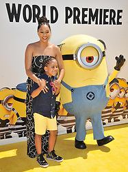 """(L-R) Tia Mowry and Son arrives at the """"Despicable Me 3"""" Los Angeles Premiere held at the Shrine Auditorium in Los Angeles, CA on Saturday, June 24, 2017.  (Photo By Sthanlee B. Mirador) *** Please Use Credit from Credit Field ***"""