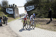France, Sunday 12th April 2015: Alexander Kristoff (Katusha) rides alongside United Healthcare's Daniel Summerhill at Pont Gibus during the 2015 edition of the Paris Roubaix elite men's cycle race.