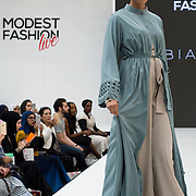 Arabian Nites showcases it latest collection Modest and beautiful at the Modest and Beautiful a Modest Fashion Live at The Atrium in Westfield London on June 24, 2018.