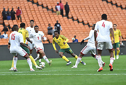 South Africa: Johannesburg: Bafana Bafana player Percy Tau makes a beautiful pass for his team mate, during a game with Seychelles for the Africa Cup Of Nations qualifiers at FNB stadium, Gauteng.<br />Picture: Itumeleng English/African News Agency (ANA)