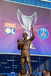 CARDIFF, WALES - Thursday, June 1, 2017: A statue of Cardiff City FA Cup winner Fred Keenor during the UEFA Women's Champions League Final between Olympique Lyonnais and Paris Saint-Germain FC at the Cardiff City Stadium. (Pic by David Rawcliffe/Propaganda)