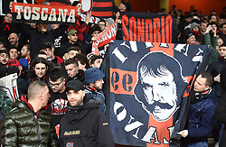 AC Milan fans in the stands show their support prior to the match