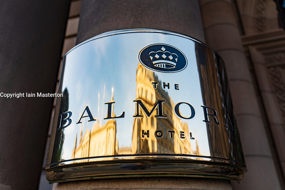 Exterior plaque at Balmoral Hotel on Princes Street in Edinburgh, Scotland, UK