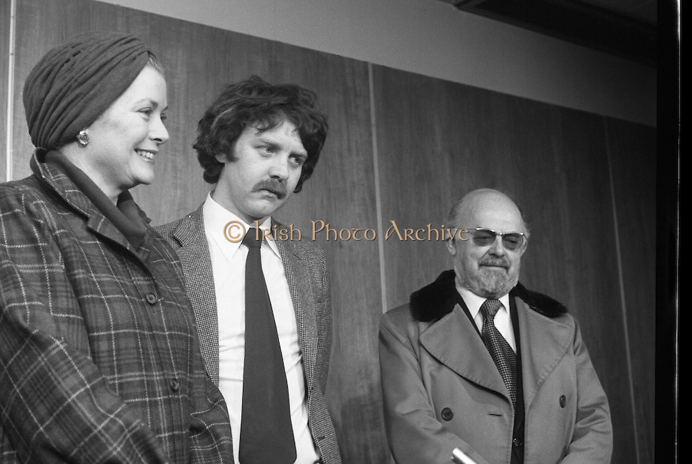 Princess Grace Arrives For The Theatre Festival. (M96)..1979..18.10.1979..10.18.1979..18th October 1979..Today saw the arrival of Princess Grace of Monaco,formerly the actress Grace Kelly,to Dublin to attend the Dublin Theatre Festival. The images show her arrival at Dublin Airport..On arrival at the V.I.P.lounge Princess Grace is pictured as she meets Mr Gerry Dempsey, Chief Executive,Aer Lingus and Mr Niall Weldon, Sec and General Manager, Corporate,Aer Lingus.