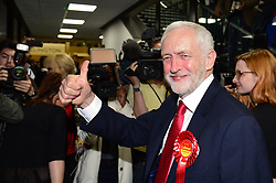 Labour leader Jeremy Corbyn arrives at the Sobell Leisure Centre in Islington, north London, where counting is taking place for the General Election.