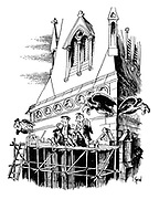 (Building Workers eating sandwiches on church scaffolding with gargoyle vultures watching)
