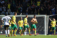 Norwich City Forward Nelson Oliveira © celebrates after scoring his teams first goal. EFL Skybet football league championship match, Fulham  v Norwich city at Craven Cottage in London on Saturday 5th August 2017.<br /> pic by Steffan Bowen, Andrew Orchard sports photography.
