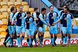 Cambridge United players celebrate their third goal - Mandatory by-line: Ryan Crockett/JMP - 20/02/2021 - FOOTBALL - One Call Stadium - Mansfield, England - Mansfield Town v Cambridge United - Sky Bet League Two