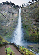 Multnomah Falls upper tier plunges 542 feet in Columbia River Gorge National Scenic Area, on Historic Columbia River Highway and Interstate 84, Oregon, USA. Panorama stitched from 5 images.