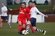 Blackburn Midfielder Jess Holbrook challenges during the FA Women's Lancashire Cup Final match between Preston North End Ladies and Blackburn Rovers Women at the County Ground, Leyland, United Kingdom on 28 April 2016. Photo by Pete Burns.