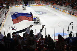 Slovenian fans at ice-hockey match USA vs Slovenia at Preliminary Round (group B) of IIHF WC 2008 in Halifax, on May 04, 2008 in Metro Center, Halifax, Nova Scotia, Canada. (Photo by Vid Ponikvar / Sportal Images)