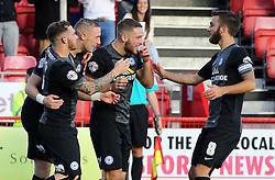 Peterborough United's Marcus Maddison celebrates scoring his goal with team-mates - Photo mandatory by-line: Joe Dent/JMP - Mobile: 07966 386802 - 11/10/2014 - SPORT - Football - Crawley - Checkatrade.com Stadium - Crawley Town v Peterborough United - Sky Bet League One