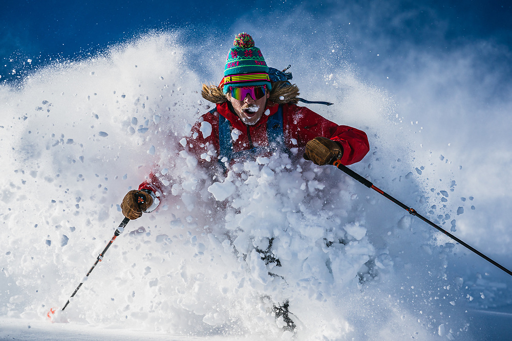 Sun's out guns out, Spencer Harkins visits Pow Town, Wasatch backcountry, Utah.