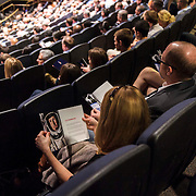 Attendees gather for a panel discussion about the Stratos project in the IMAX Theater at The Smithsonian National Air and Space Museum in Washington, D.C., USA on 1 April, 2014.