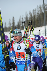 February 8, 2019 - Calgary, Alberta, Canada - Garanichev Evgeniy leaves the stadium after the first exchange during Men's Relay of 7 BMW IBU World Cup Biathlon 2018-2019. Canmore, Canada, 08.02.2019 (Credit Image: © Russian Look via ZUMA Wire)