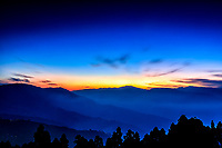 Darjeeling  Evening: The rolling Himalayan hills are cast in the blue mists of evening, Darjeeling India.