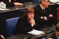20 JAN 2000, BERLIN/GERMANY:<br /> Angela Merkel, CDU Generalsekretärin, während der Debatte zur CDU Spendenaffäre, Plenum, Deutscher Bundestag<br /> Angela Merkel, General Secretary of the Christian Democratic Union, during the debate about the affair of secret donations to the CDU<br /> IMAGE: 20000120-01/03-20