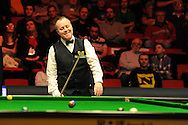 John Higgins of Scotland during his match against Judd Trump of England.. Bet Victor Welsh open snooker at the Newport centre in Newport, South Wales on Thursday 27th Feb 2014.<br /> pic by Andrew Orchard, Andrew Orchard sports photography.