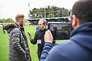 AFC Wimbledon Midfielder Scott Wagstaff (7) gives an interview ahead of the EFL Sky Bet League 1 match between AFC Wimbledon and Wycombe Wanderers at the Cherry Red Records Stadium, Kingston, England on 27 April 2019.