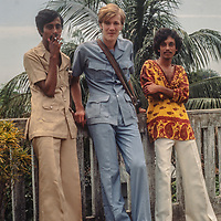 Middle class college students wear the latest fashions as mingle in  in Dhaka, Bangladesh, 1977.  Gordon Wiltsie center.