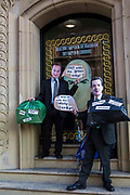 Fake David Cameron and George Osbourne discuss fracking to demonstrate at the TUC No to Austerity demo outside the Conservative party conference, Manchester. 4th October 2015