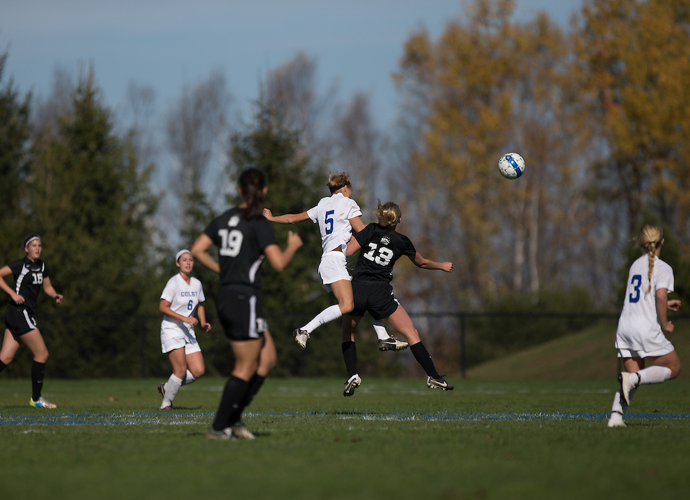 Amanda Findlay, of Colby College, during a NCAA Division III women's soccer game on October 25, 2014 in Waterville, ME. (Dustin Satloff/Colby College Athletics)