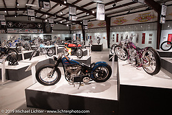 Union Speed and Style's Jordan Dickinson's SourKraut (L) custom 1947 Harley-Davidson EL Knucklehead and Ken's Factory Ken Nagai's DL (Downlow) 93ci S&S custom from Nagoya, Japan in the What's the Skinny Exhibition (2019 iteration of the Motorcycles as Art annual series) at the Sturgis Buffalo Chip during the Sturgis Black Hills Motorcycle Rally. SD, USA. Thursday, August 8, 2019. Photography ©2019 Michael Lichter.