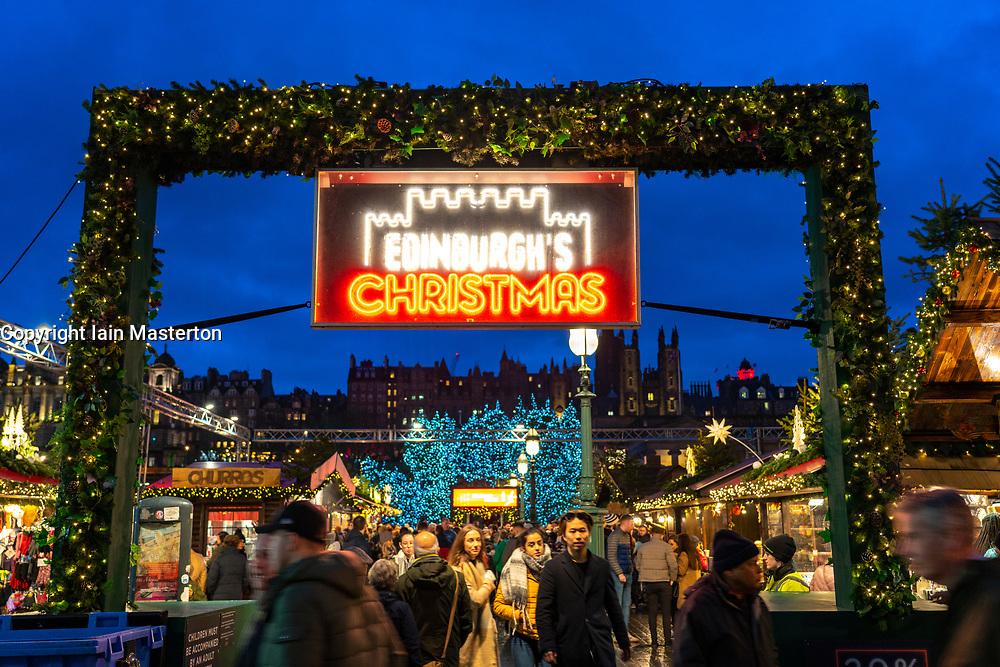 Entrance to Edinburgh Christmas Market in west Princes Street gardens in Edinburgh, Scotland, UK
