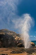 Spray of ocean water shoots out of a coastal Nakalele Blowhole at Nakalele Point, Maui, Hawaii