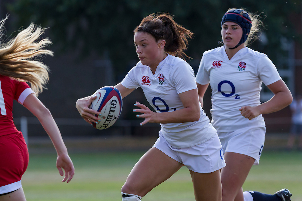 Try scorer Kelly Smith supported by Becky Noon, U20 England Women v U20 Canada Women at Trent College, Derby Road, Long Eaton, England, on 18th August 2016