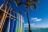 Surfboards on Waikiki Beach, Honolulu, Oahu, Hawaii
