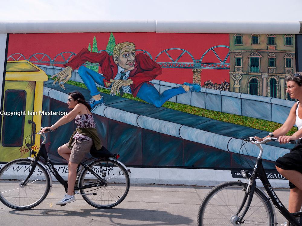 Newly repainted mural on Berlin Wall at East Side Gallery in Berlin Germany August 2009