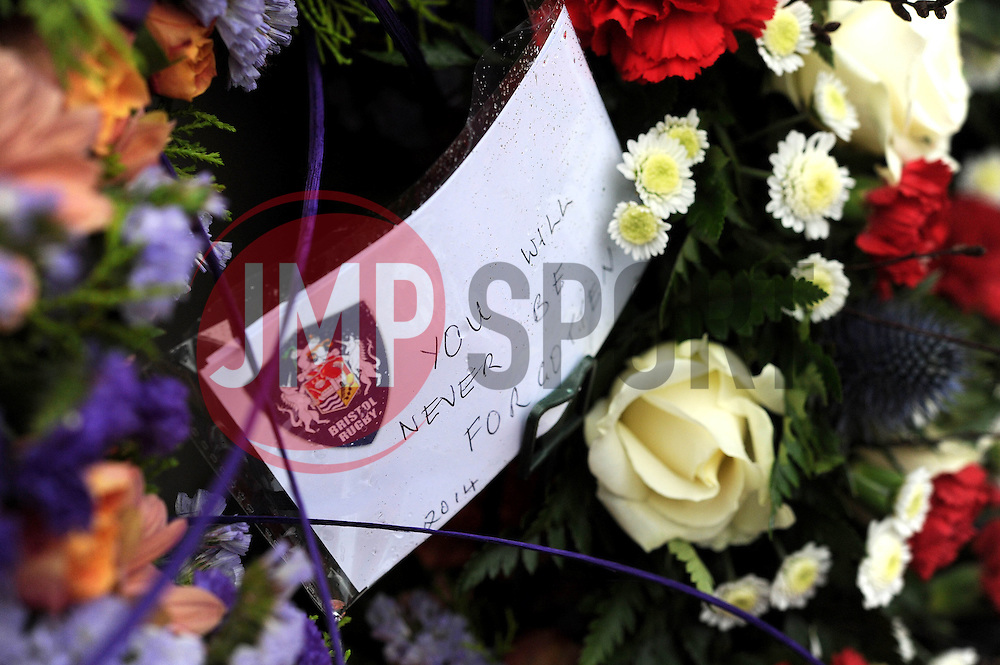 Bristol Rugby 'You will never be forgotten' - Photo mandatory by-line: Dougie Allward/JMP - Mobile: 07966 386802 - 11/11/2014 - SPORT - Bristol - Memorial Stadium - Remembrance Service