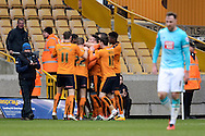 Wolverhampton Wanderers midfielder George Saville celebrates second goal during the Sky Bet Championship match between Wolverhampton Wanderers and Derby County at Molineux, Wolverhampton, England on 27 February 2016. Photo by Alan Franklin.