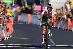 July 16, 2017 - Le Puy-En-Velay, FRANCE - French Warren Barguil of Team Sunweb wearing the polka-dot jersey for the best climber crosses the finish line after the 15th stage of the 104th edition of the Tour de France cycling race, 189,5 from Laissac-Severac l'Eglise to Le Puy-en-Velay, France, Sunday 16 July 2017. This year's Tour de France takes place from July first to July 23rd...BELGA PHOTO DAVID STOCKMAN (Credit Image: © David Stockman/Belga via ZUMA Press)