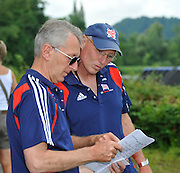 Lucerne SWITZERLAND,  Left David TANNER and Paul THOMPSON, check the start list at the 2011 FISA World Cup on the Lake Rotsee. Sunday   10/07/2011   [Mandatory Credit Peter Spurrier/ Intersport Images]