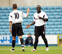 Photo: Chris Ratcliffe.<br />Millwall v Charlton Athletic. Pre Season Friendly. 22/07/2006.<br />Jimmy Floyd Hasselbaink of Charlton celebrates his first half goal with Darren Ambrose.