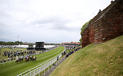 Runners and riders in the Boodles Diamond Handicap during City Day of the 2018 Boodles May Festival at Chester Racecourse.