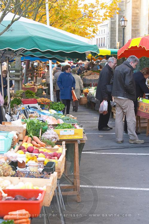 Market stalls selling fruits and vegetables. Bergerac Dordogne France
