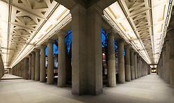 Illuminated colonnade beside Alte Nationalgalerie on Museumsinsel, Museum Island, Mitte, Berlin, Germany
