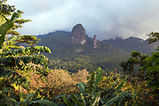 The Pico de Príncipe L and the Pico Cão Grande, the two highest mountains on the island, Principe, Sao Tome and Principe<br /> Sao Tome and Principe, are two islands of volcanic origin lying off the coast of Africa. Settled by Portuguese convicts in the late 1400s and a centre for slaving, their independence movement culminated in a peaceful transition to self government from Portugal in 1975.