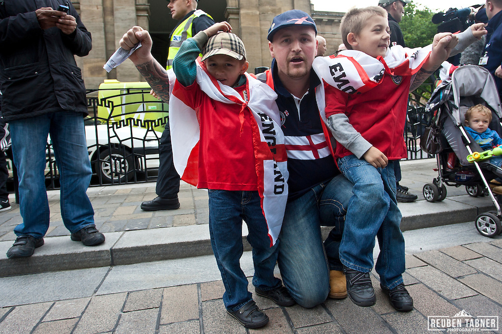 English defence League  (EDL) supporters taunt the UAF In Newcastle City Centre. They are joined by two young boys aged 5 and 6.