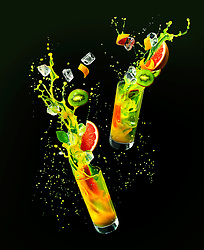 Green Devil Cocktail in the air. Gravity defying drinks.