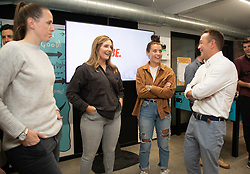 CARDIFF, WALES - Monday, August 19, 2019: Wales' goalkeeper Laura O'Sullivan, Lauren Davies, Angharad James and Dylan Ebenezer chat during the launch event for the Be.Football campaign at the Wales women's squad annoucement ahead of the UEFA Women Euro 2021 qualifying Group C games against Faroe Islands and Northern Ireland at Orchard HQ. (Pic by Kunjan Malde/Propaganda)