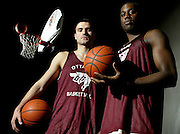 University of Ottawa Gee-Gees basketball players Marko Jovic (L) and Jermaine Campbell (R) are seen before practice at Montpetit Hall at the University of Ottawa on Feb 15, 2005..(Ottawa Sun Photo By Sean Kilpatrick)