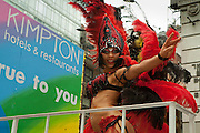 Feathered articipant in the 2011 Pride Parade in New York.